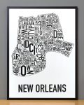 New Orleans Map in Black Frame