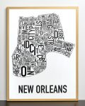 New Orleans Map in Bronze Frame