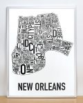 New Orleans Map in Silver Frame