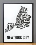 New York Map in Black Frame