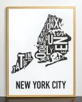 New York Map in Bronze Frame