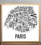 Paris Map in Bronze Frame