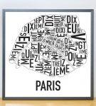 Paris Map in Grey Frame