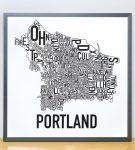 Portland Map in Grey Frame