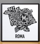 Rome Map in Black Frame