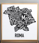 Rome Map in Bonze Frame