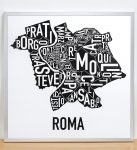 Rome Map in Silver Frame