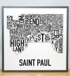 Saint Paul Map in Grey Frame