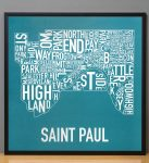 Saint Paul Map in Black Frame
