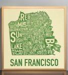 San Francisco Map in Bronze Frame