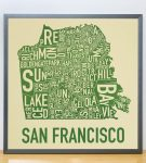San Francisco Map in Grey Frame