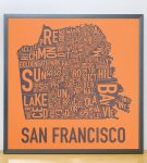 San Francisco Map in Grey Frame