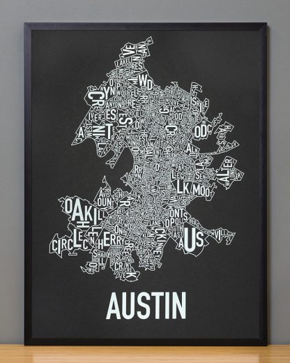 "Framed Austin Neighborhood Map Screenprint, 18"" x 24"", Black & White in Black Frame"