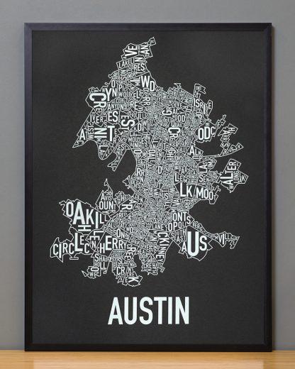 """Framed Austin Neighborhood Map Screenprint, 18"""" x 24"""", Black & White in Black Frame"""
