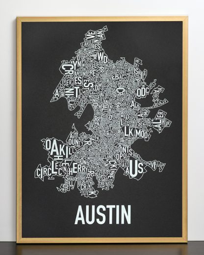"Framed Austin Neighborhood Map Screenprint, 18"" x 24"", Black & White in Bronze Frame"