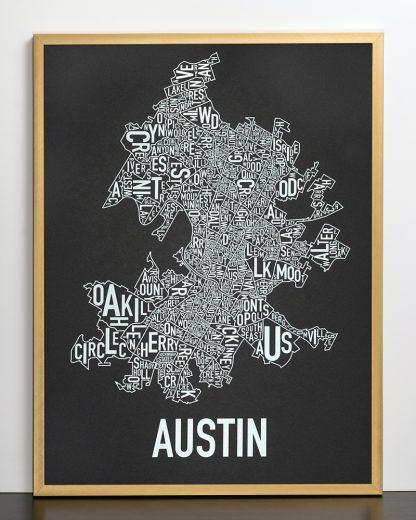 """Framed Austin Neighborhood Map Screenprint, 18"""" x 24"""", Black & White in Bronze Frame"""
