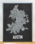 Austin Map in Grey Frame
