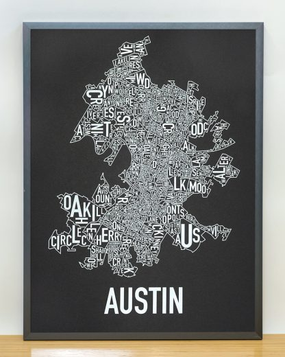 "Framed Austin Neighborhood Map Screenprint, 18"" x 24"", Black & White in Steel Grey Frame"