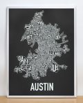 Austin Map in Silver Frame