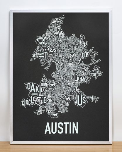 """Framed Austin Neighborhood Map Screenprint, 18"""" x 24"""", Black & White in Silver Frame"""