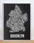 Brooklyn Map in Silver Frame