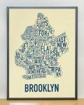 Brooklyn Map in Grey Frame