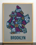 Brooklyn Map in Bronze Frame