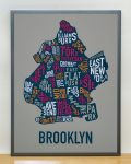 Brooklyn Map in Grey Frame