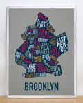 Brooklyn Map in Silver Frame