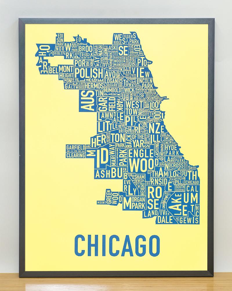 Chicago Neighborhood Map 18 Quot X 24 Quot Yellow Screenprint