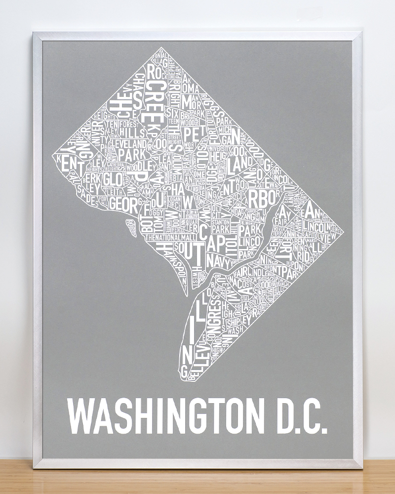 Washington DC Neighborhood Map 18 x 24 Monumental Grey Screenprint