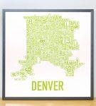 Denver Map in Grey Frame