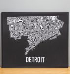 Detroit Map in Black Frame