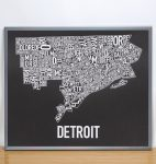 Detroit Map in Grey Frame