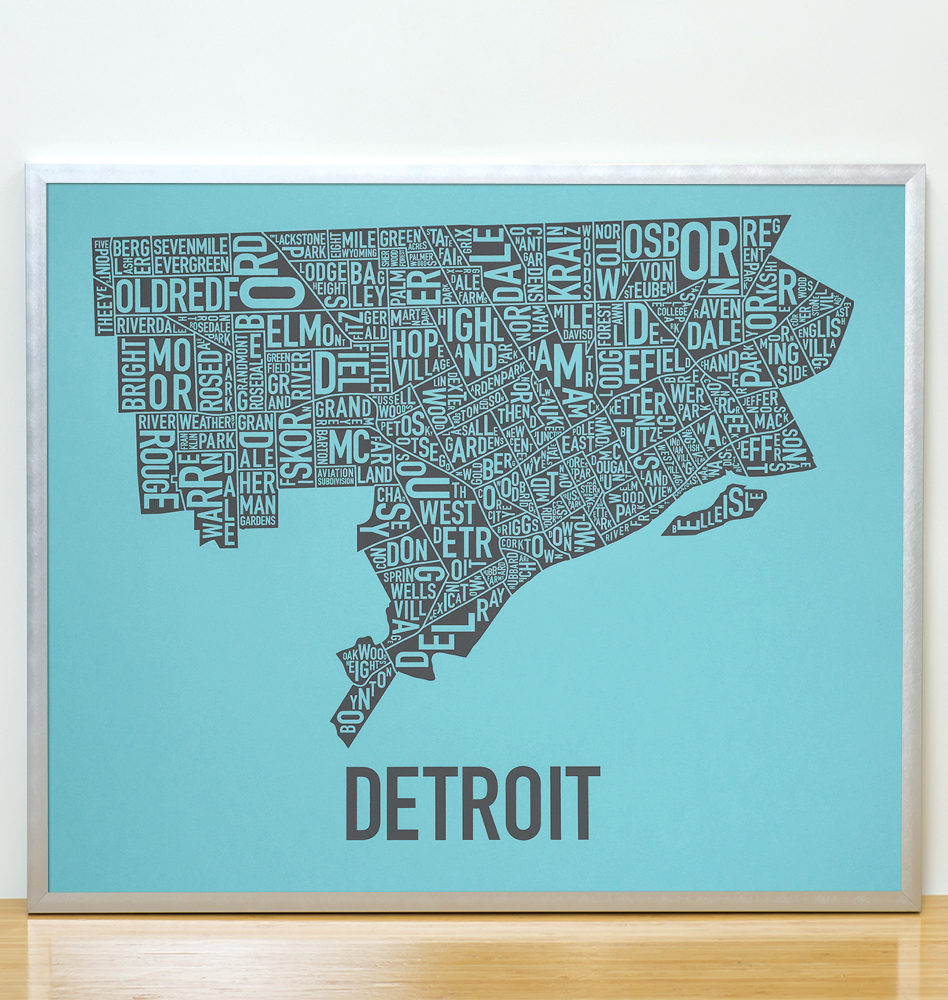 Detroit Neighborhood Map 24quot X 20quot Belle Blue Screenprint