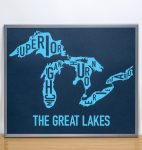 Great Lakes Map in Grey Frame