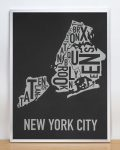 New York Map in Silver Frame