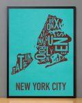 New York Map in Black Frame