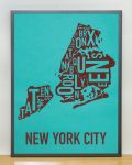 New York Map in Grey Frame