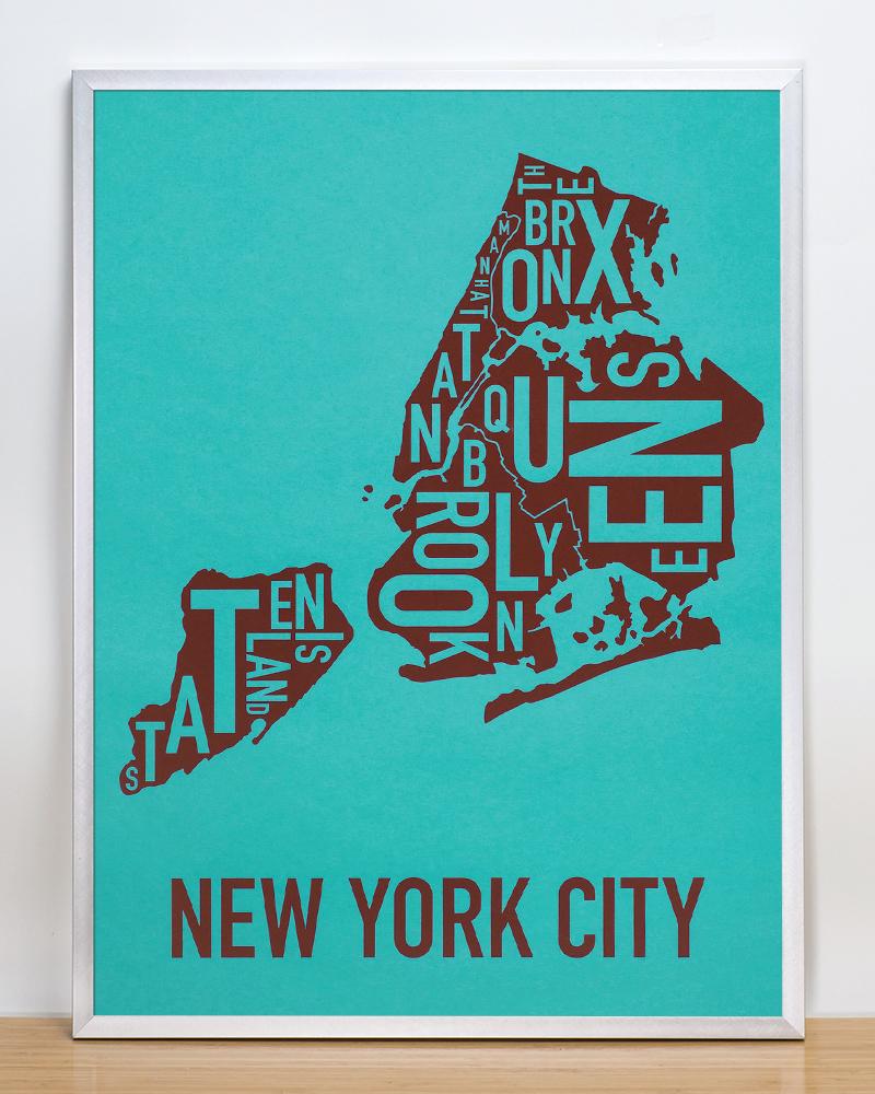 New York City Boroughs Map 18 X 24 Mod Madison Avenue