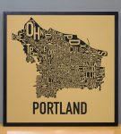 Portland Map in Black Frame