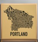 Portland Map in Bronze Frame