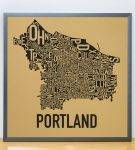 Portland Map in Grey Frame