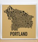 Portland Map in Silver Frame