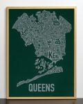 Queens Map in Bronze Frame