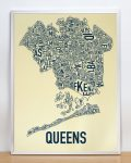 Queens Map in Silver Frame