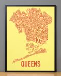Queens Map in Black Frame