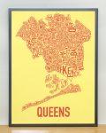 Queens Map in Grey Frame