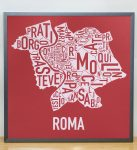 Rome Map in Grey Frame