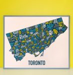 Toronto Map in Grey Frame